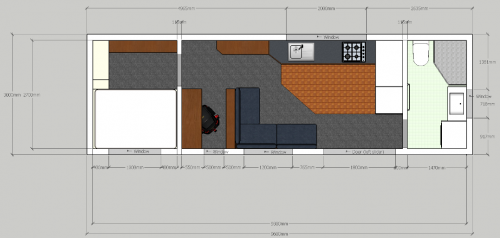 Absolute Floorplan 9.6m x 3m - 1 Bedroom - End Bathroom - Office